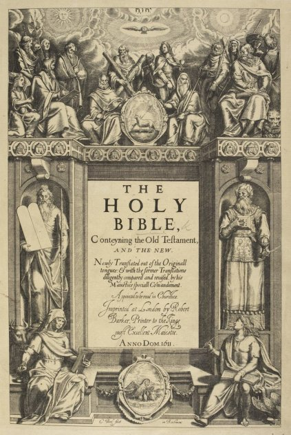 Title page of the first edition of the so-called King James' Bible or authorized version.