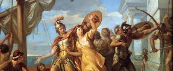 In Greek mythology, Helen of Troy, also known as Helen of Sparta, was said to have been the most beautiful woman in the world. She was married to King Menelaus of Sparta but was abducted by Prince Paris of Troy after the goddess Aphrodite promised her to him in the Judgement of Paris.