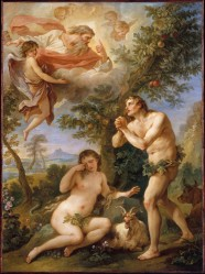 """The Rebuke of Adam and Eve"" Charles Joseph Natoire painted this in 1740"