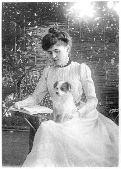 ...with her dog; her heartbeat at her feet