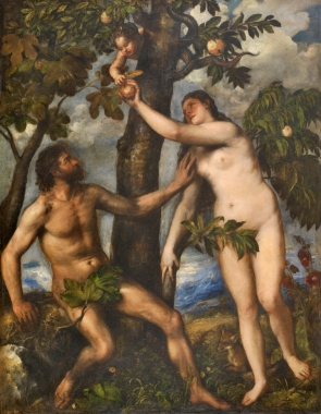 Adam and Eve. By Titian, 1550.The painting is a faithful visualisation of Genesis 30, 9-19 in which Eve is blamed for accepting the forbidden fruit (although the type of fruit is not mentioned).