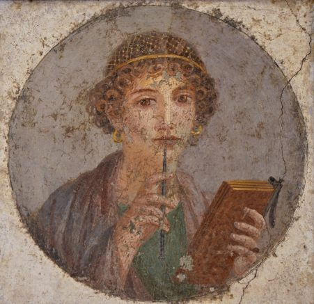Fresco showing a woman holding writing implements, a wax tablet and stylus. From Pompeii, c. 50 AD.