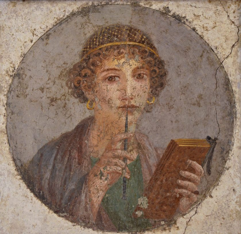 Fresco showing a woman holding writing implements (c. 50 AD)