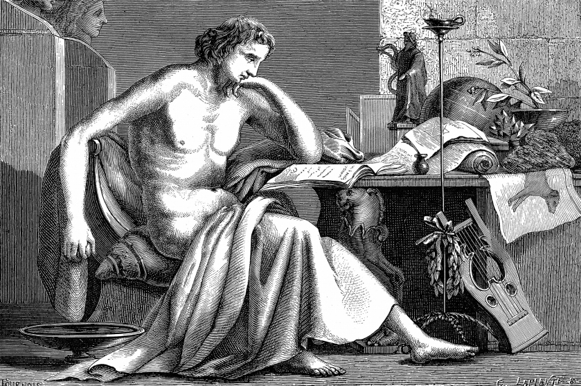 Aristotle (384-322 BC) Ancient Greek philosopher and scientist. Aristotle as a young man in his study. Artist's reconstruction: wood engraving c. 1886