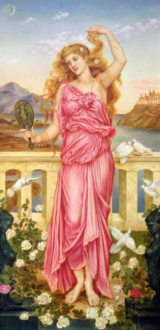 Helen of Troy By Evelyn De Morgan (1898) Helen admiringly displays a lock of her hair, as she gazes into a mirror decorated with the nude Aphrodite.