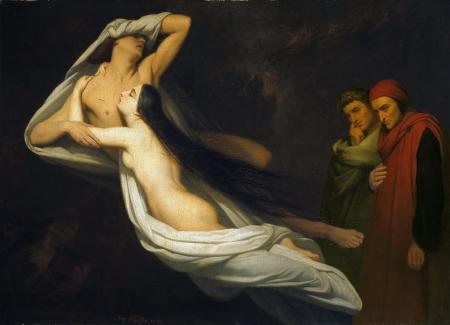 Ary Scheffer -- Francesca_da_Rimini_en_Paolo_Malatesta_aanschouwd_door_Dante_en_Vergilius_1854