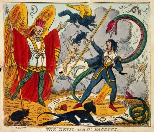 The Devil and Dr. Faustus meet. The life and horrible adventures of the celebrated Dr. Faustus; relating his first introduction to Lucifer, and connection with infernal spirits; his method of raising the Devil, and his final dismissal to the tremendous abyss of Hell.