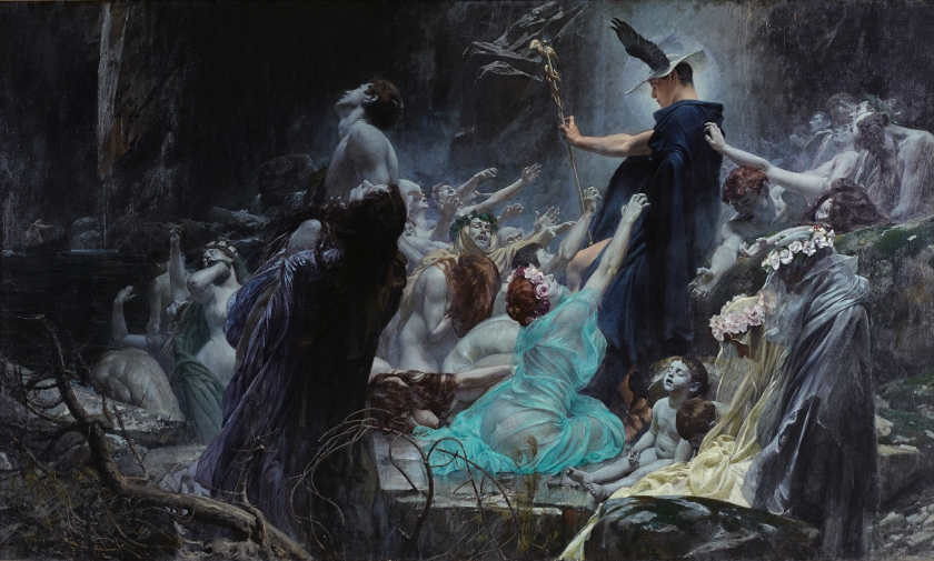 Souls on the Banks of the Acheron (depicting Hermes in the underworld) by Adolf Hirémy-Hirschl (1898).