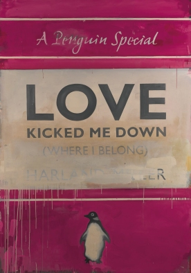 """Harland Miller is an English artist born in Yorkshire in 1964. He studied at London's Chelsea School of Art, graduating in 1988. Notable artworks by Miller include his giant canvases of Penguin Book covers. The paintings include sardonic statements, e.g., """"Whitby - The Self Catering Years,"""" """"Rags to Polyester - My Story"""" and, """"Incurable Romantic Seeks Dirty Filthy Whore."""""""