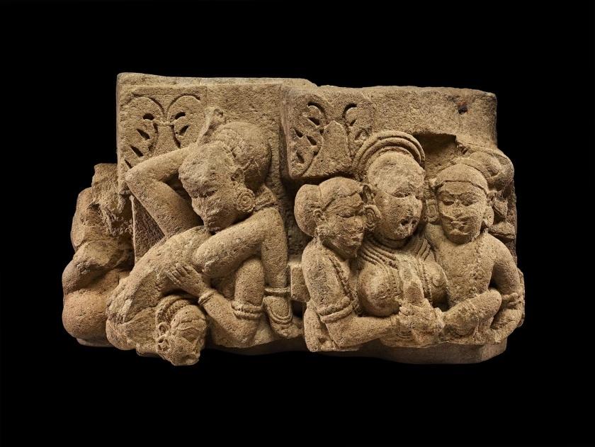 Erotic maithuna ('sexual union') sculpture. Maharashtra, India,sandstone (11th c.) @ The British Museum.
