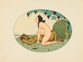 The first edition with Perceau's erotic sonnets. Duflou had first started issuing Wegener's designs on their own from 1917 but these met with little demand until he repackaged them with his friend Perceau's sonnets. Gerda Wegener had moved to Paris from Denmark in 1912 with her husband Einar to a life of luxuriant bohemianism. Einar, in female guise as Lily Elbe, was Gerda's favourite model, especially for her mainstream fashion illustrations. Einar Wegener later became the first man to undergo a gender reassignment operation. Dutel 1356; Pia Enfer, 389.