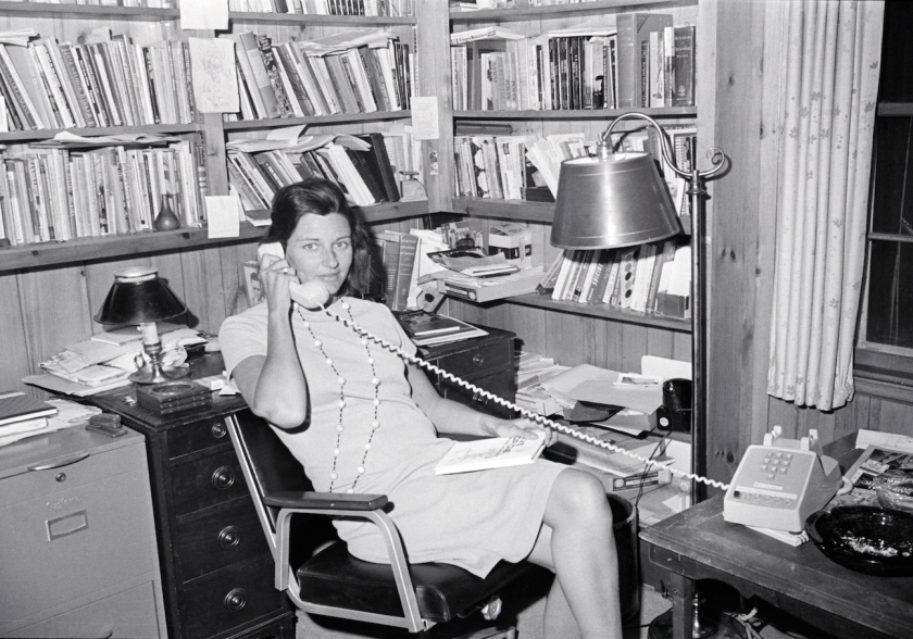 Anne Sexton talks on the phone in her office after winning the Pulitzer Prize for her book of poetry: Live or Die, 1967.