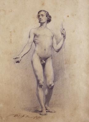 """Nude young man with spear"" (Desnudo de joven con lanza) by Marià Fortuny (1838–1874) (1860) @ The Reial Acadèmia Catalana de Belles Arts de Sant Jordi, Barcelona."