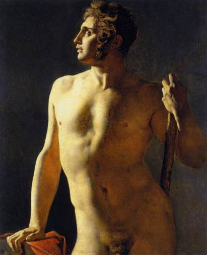 """Study of a Male Nude"" by Jean-Auguste-Dominique Ingres (1780–1867) (1801) @ The École nationale supérieure des Beaux-Arts"