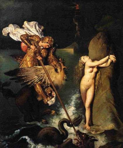 """""""Roger Delivrant Angelique"""" by Jean-Auguste-Dominique Ingres (1780–1867) (1819) @ Musée du Louvre, Paris."""