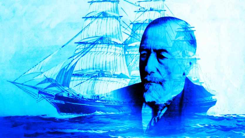 An Artistic Montage Of Joseph Conrad With A Ship