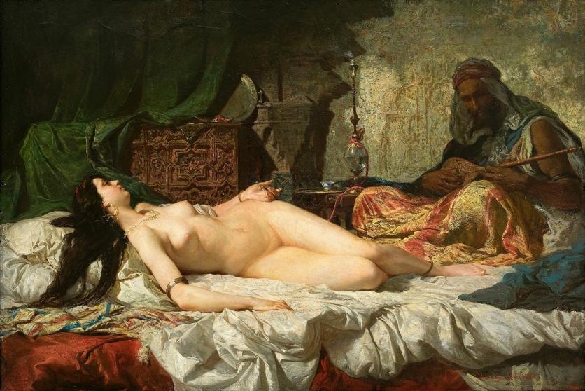 """""""The Odalisque"""" (La Odalisca) by Marià Fortuny (1838–1874) (1861) @ Museu Nacional d'Art de Catalunya, Barcelona."""