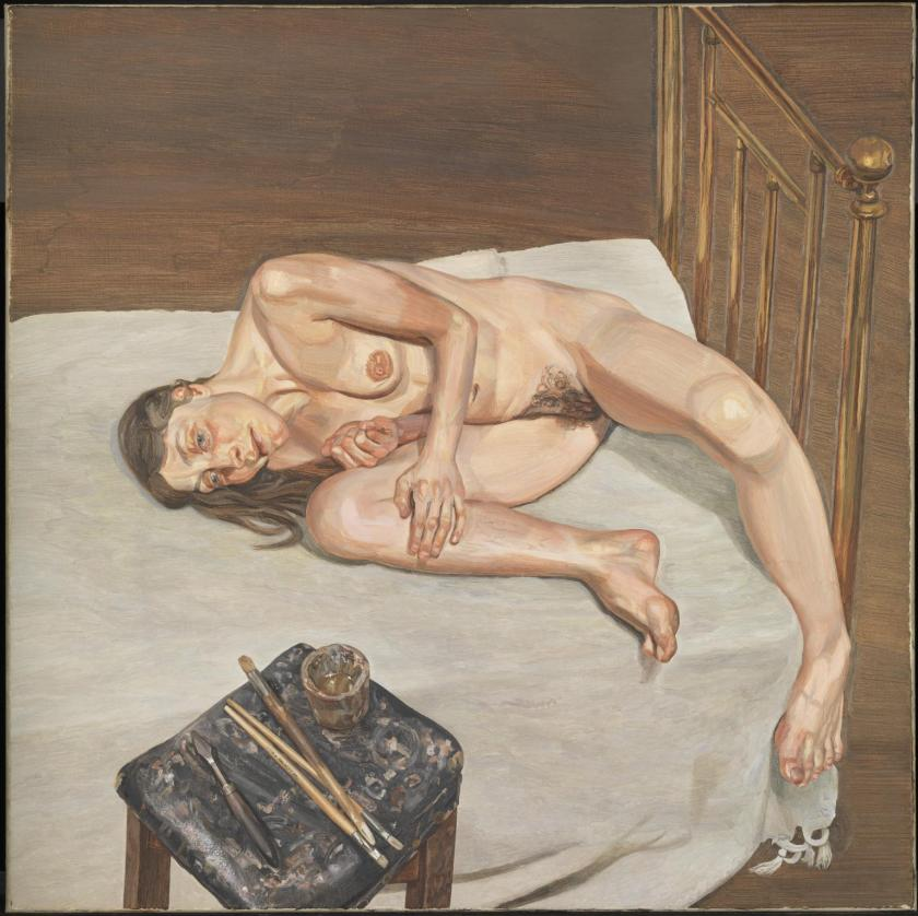 """Painting by Lucian Freud (1922–2011) (1972–3) -- Oil on canvas, 61 cm by 61 cm @ The TATE, London. The TATE describe it as thus: """"Here the figure is shown lying awkwardly on a bed, with nothing else visible except the stool. It is as if she is an animal on the dissecting table. This feeling is reinforced by the harsh, artificial lighting. ... Freud's inclusion of his tools in the foreground reminds us that we are looking at the artificial setting of an artist's studio."""""""