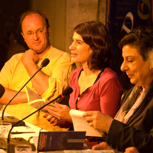 Esther Freud at the 2008 The Palestine Festival of Literature with William Dalrymple to the left and Dr. Hanan Ashrawi to the right.