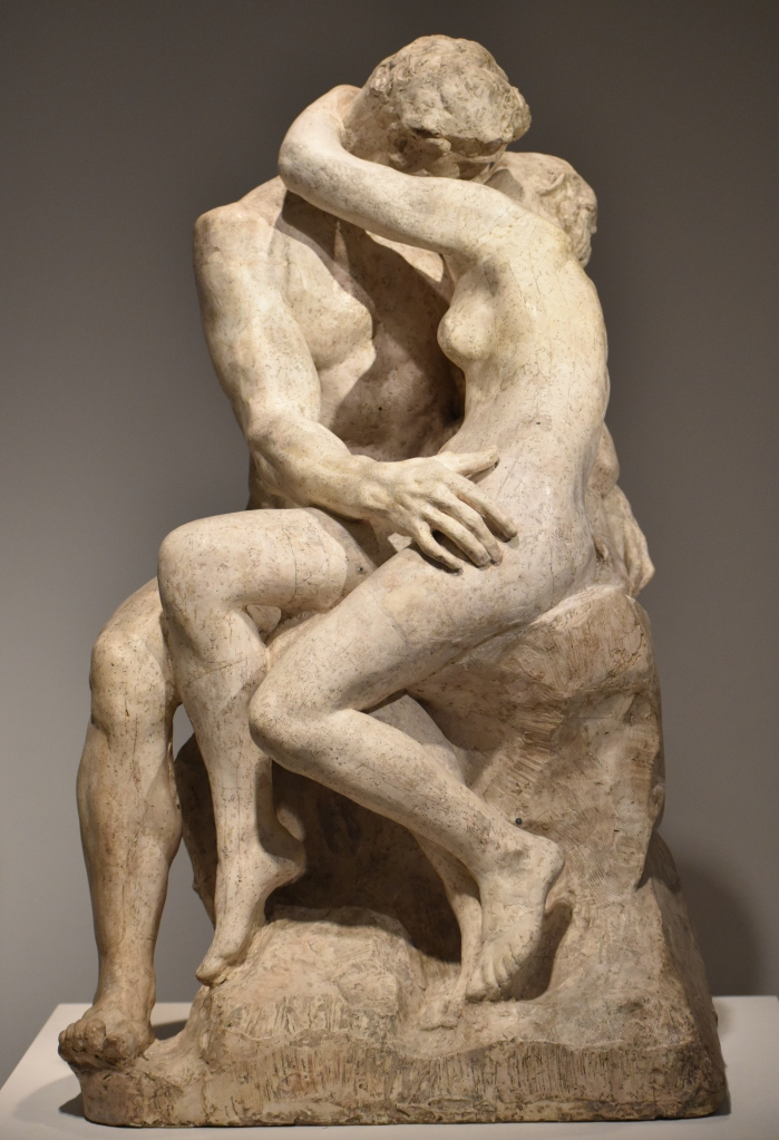 'The Kiss' by Auguste Rodin (1882). Made of marble, on view at the Musée Rodin in Paris.