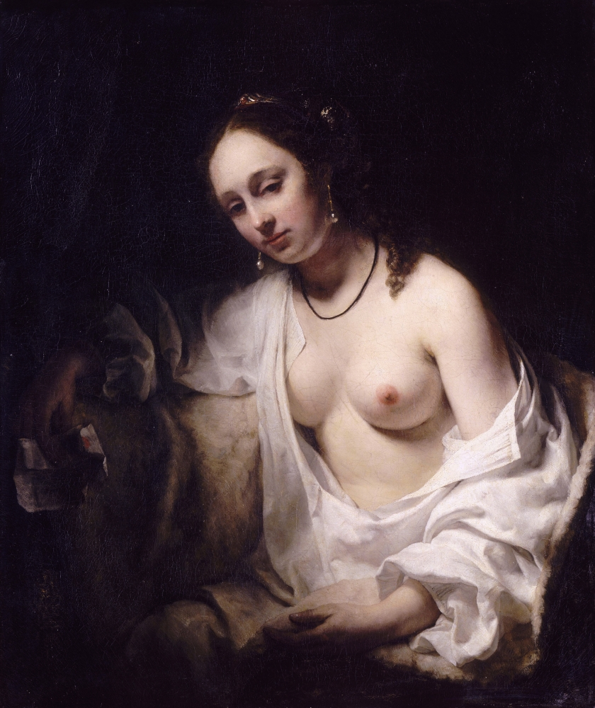 Bathsheba holding King David's letter -- by Willem Drost (c.1654)