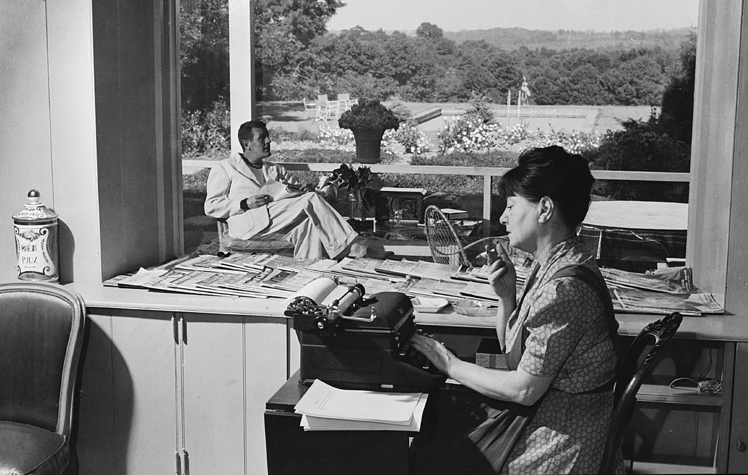 Dorothy Parker and Alan Campbell at their farmhouse in Bucks County, Pennsylvania, 1937
