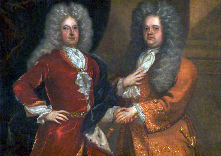Joseph Addison (1672–1719) was an English essayist. Richard Steele (1672–1729) was an Irish essayist. Both Addison (painted on the left) and Steel (painted on the right) were active politically